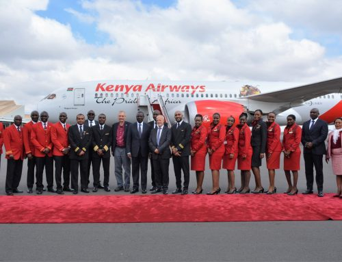 TOURISM PRINCIPAL SECRETARY JOE OKUDO WELCOMES KENYA AIRWAYS RETURN FLIGHT KQ003 FROM NEW YORK TO NAIROBI